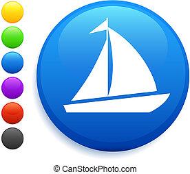 кнопка, значок, круглый, паруса, интернет