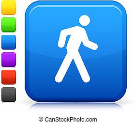 кнопка, квадрат, значок, интернет, ходить