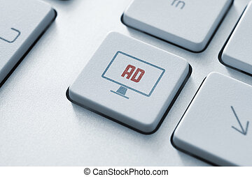 кнопка, концепция, реклама, интернет