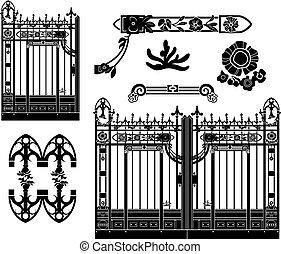 кованое, украшения, железо, ворота