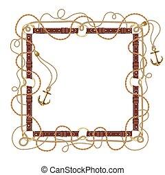 кожа, задавать, золотой, belts, квадрат, коричневый, rings., круглый, frame., граница