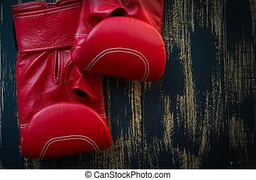 кожа, заниматься боксом, черный, задний план, gloves, красный