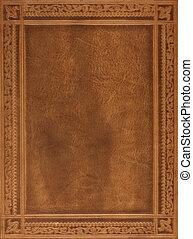 кожа, коричневый, книга, обложка