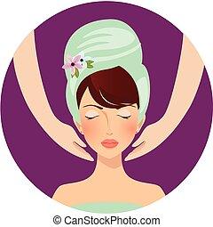 кожа, процедура, спа, забота, медицинская, лицо, салон, массаж