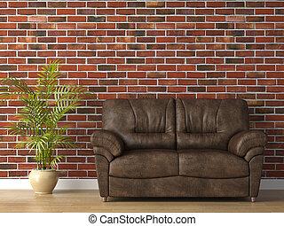 кожа, стена, кирпич, диван