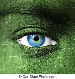 кожа, ящерица, текстура, человек, -, мутация, глаз, концепция