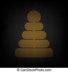 колба, легкий, значок, оранжевый, знак, пирамида, маленький, сетка, illustration., darkness.