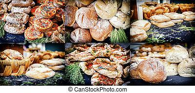 коллаж, деревенский, пекарня, freshly, запеченный, хлеб