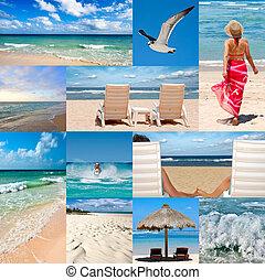 коллаж, около, пляж, каникулы