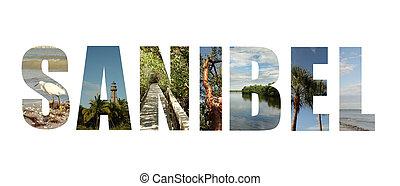 коллаж, остров, флорида, sanibel