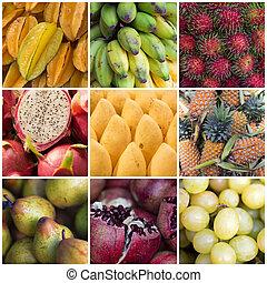 коллаж, различный, fruits