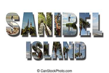 коллаж, флорида, sanibel, белый, остров