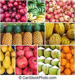 коллаж, fruits., свежий, коллекция, fruits, различный