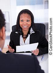 коллега, discussing, два, бизнес