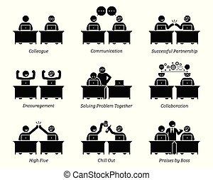 коллега, partners, бизнес, за работой, office., вместе, рабочее место, efficiently