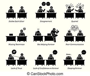 коллега, partners, бизнес, за работой, office., вместе, рабочее место, inefficiently