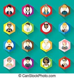 коллекция, женщина, icons, другой, set., иллюстрация, занятие, значок, человек, design., профессии, квартира, вектор