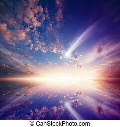 комета, пылающий, закат солнца, удивительно, falling