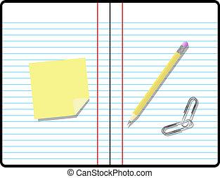 комната, текст, липкий, заметка, блокнот, бумага, состав, ваш, карандаш