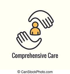 комплексный, забота, здоровье, связанный, значок, образ, символизм
