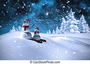 композитный, образ, снеговик, семья