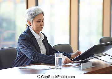 компьютер, с помощью, бизнес-леди