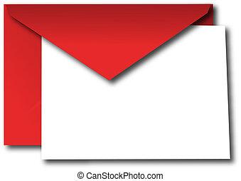 конверт, красный, карта, пустой