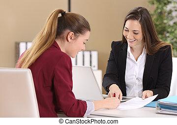 контракт, наемный рабочий, или, signing, клиент