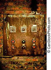 контроль, старый, стена, ржавый, кирпич, панель