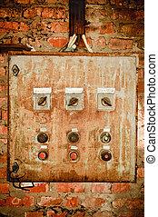 контроль, стена, ржавый, старый, панель