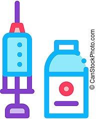 контур, вектор, мерный стакан, значок, лекарственное средство, шприц, иллюстрация