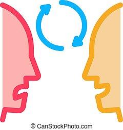 контур, человек, значок, вектор, слабоумие, иллюстрация