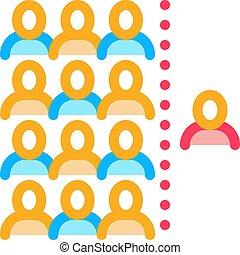 контур, человек, значок, per, вектор, слабоумие, иллюстрация, население