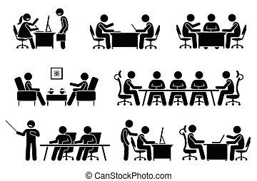 конференция, бизнесмен, discussion., бизнес, встреча