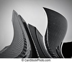 концептуальный, абстрактные, skyscrapers, бизнес, архитектура