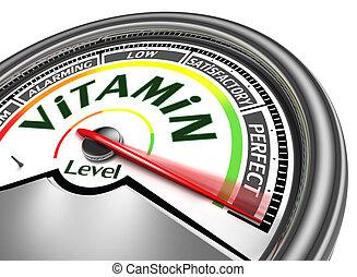 концептуальный, витамин, метр, уровень