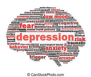 концептуальный, дизайн, депрессия