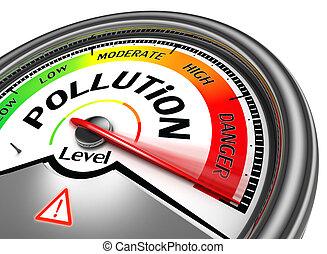 концептуальный, загрязнение, метр, уровень