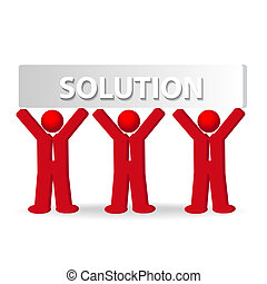 концепция, бизнес, за работой, люди, solution, три, команда