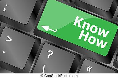 концепция, бизнес, кнопка, -, как, знать, ключ, клавиатура