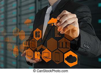 концепция, вычисления, рука, диаграмма, компьютер, бизнесмен, интерфейс, новый, рисование, облако