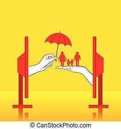 концепция, дизайн, страхование, семья