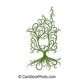 концепция, дом, экология, зеленый, дизайн, ваш
