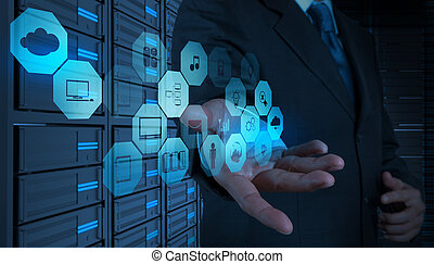 концепция, за работой, вычисления, диаграмма, компьютер, бизнесмен, интерфейс, новый, облако