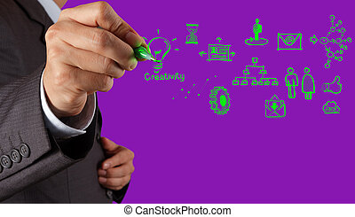 концепция, за работой, вычисления, рука, диаграмма, компьютер, бизнесмен, интерфейс, новый, облако