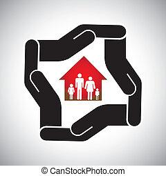 концепция, имущество, дом, главная, страхование, семья, &, личный, также, здоровье, актив, vector., безопасность, deals, реальный, бизнес, безопасно, защита, represents, графический, защита, и т.д, или
