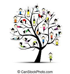 концепция, йога, практика, дерево, дизайн, ваш