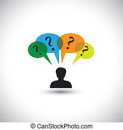 концепция, люди, doubts, &, мышление, -, unanswered, также, речь, questions., questions, иллюстрация, bubbles, человек, represents, графический, это, многие, thoughts, и т.д, вектор, запрос