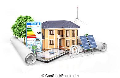 концепция, меблированный, дом, корпус, иллюстрация, можно, видеть, project., архитектор, rooms, иметь, жилой, design., где, посмотреть, инструменты, blueprints., 3d