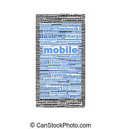 концепция, мобильный, символ, isolated, телефон, или, значок
